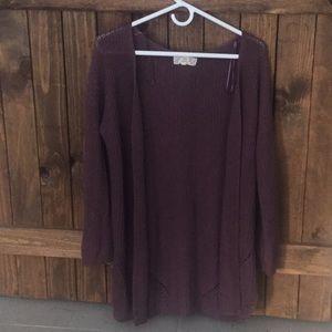 Women's heathered purple cardigan